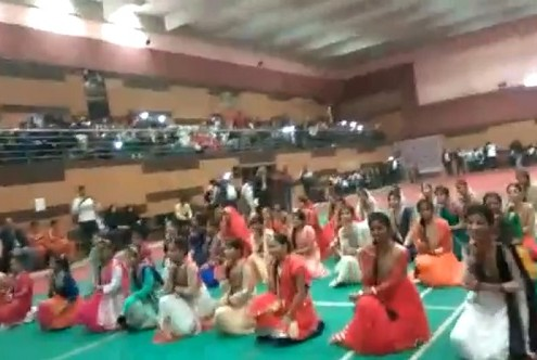 A colourful dance prog was presented by GGS girls in the international marshal art meet at Bhopal ground, Jamia Millia Islamia, New Delhi